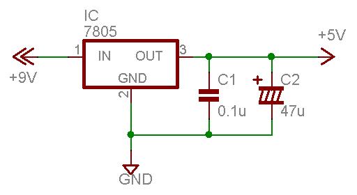 3端子レギュレータの基本回路図