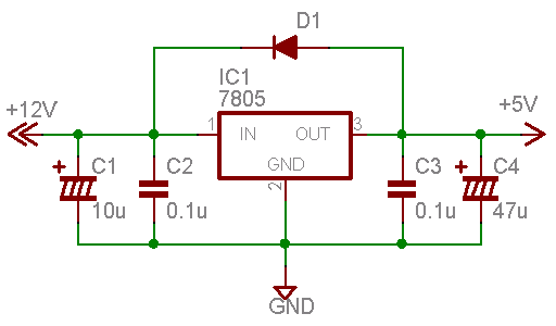 3端子レギュレータの一般的な回路例