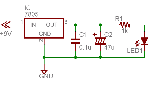 LEDを使った回路図です