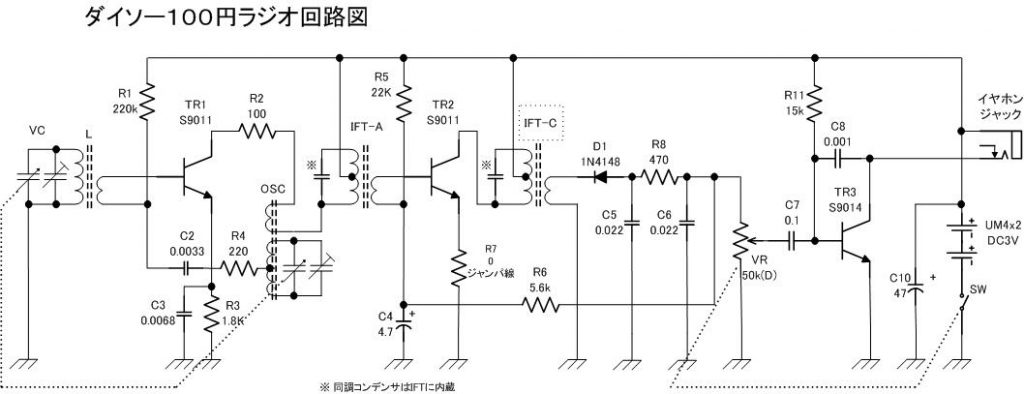 100円ラジオ回路図