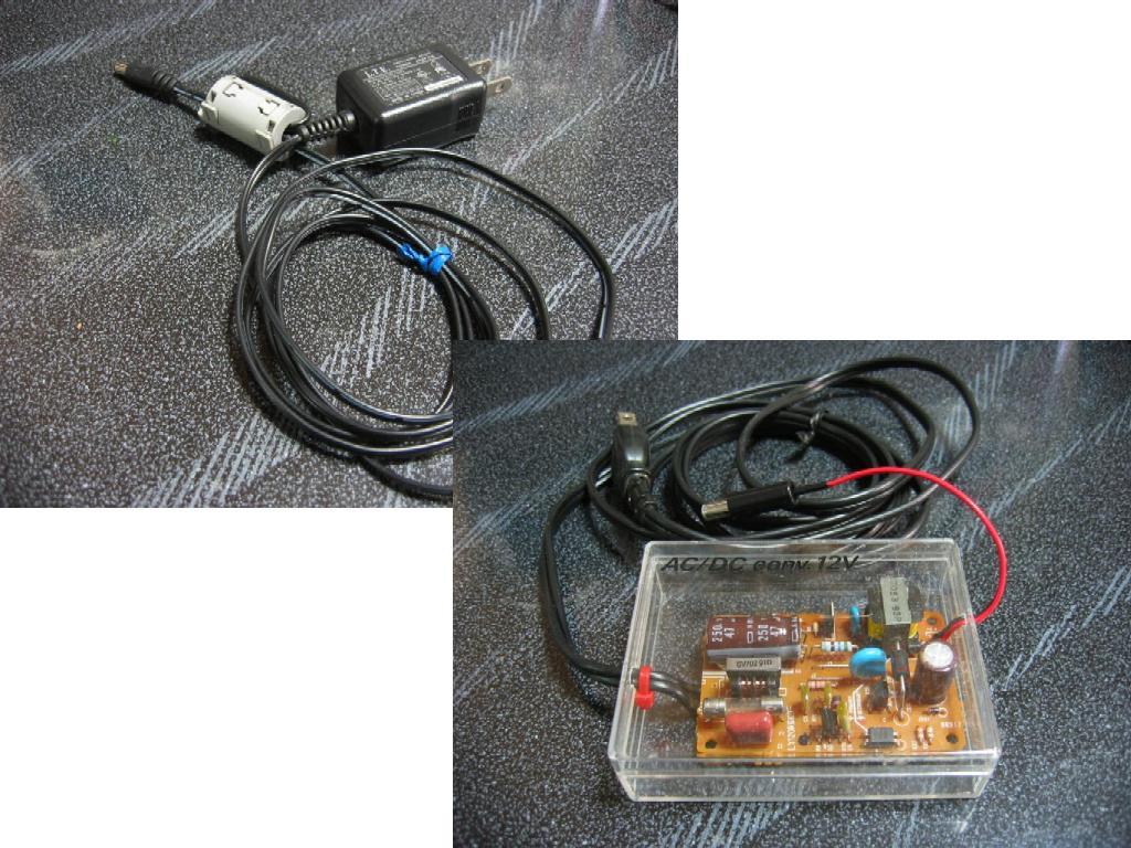 秋月電子で買った+9VのACアダプタと、ジャンク品利用の+12VのACアダプタ