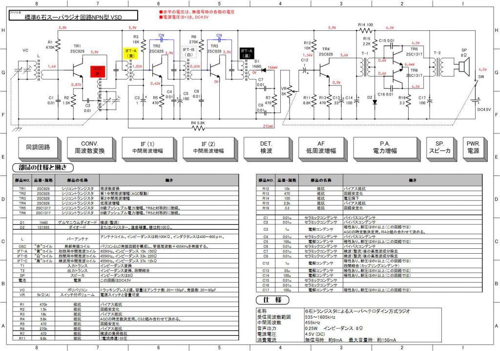 6石スーパーラジオ回路図(NPN)